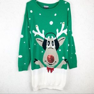 Allison Brittney Christmas Rudolph sweater dress